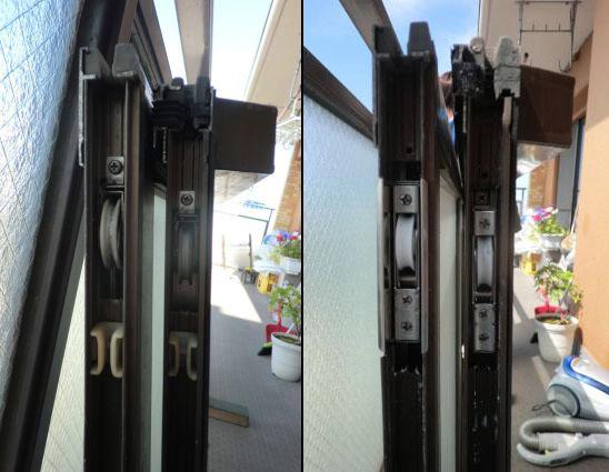 名古屋市 サッシの戸車修理、交換