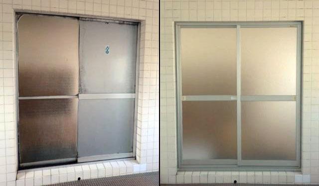 知多市 浴室引戸の取替工事 カバー工法