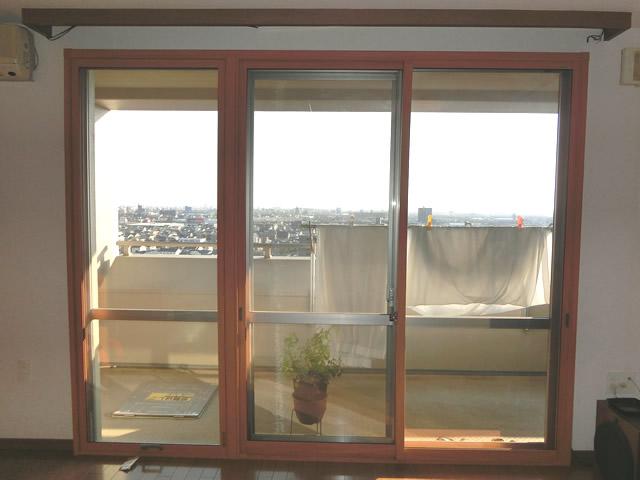 名古屋市中川区 LIXIL(トステム製)内窓インプラス 引違い窓2枚建 単板ガラス透明5ミリ