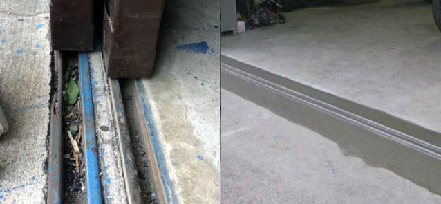 名古屋市 倉庫ハンガー扉のレール補修工事