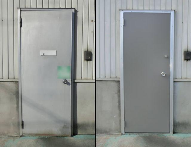 工場のアルミ片開き框ドア取替 名古屋市緑区
