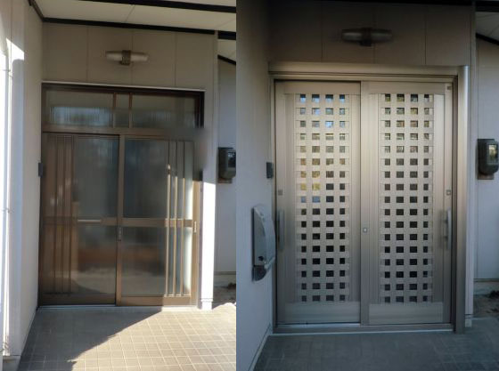 日進市 防犯対策 玄関引戸リフォーム