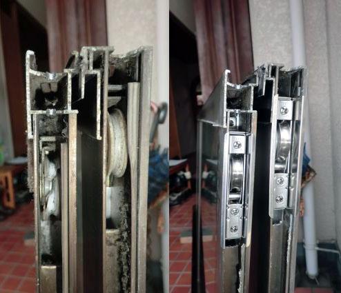 名古屋市南区 サッシ修理 引違い窓の戸車交換