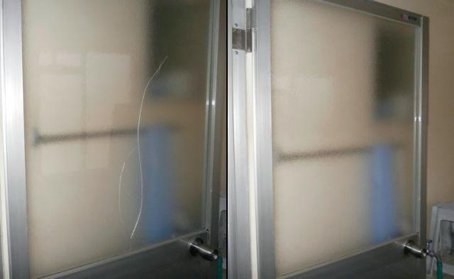名古屋市千種区 浴室片開きドアのガラス修理、交換