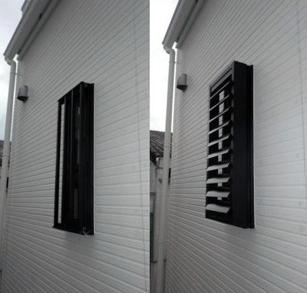 半田市 浴室窓への目隠し可動ルーバー取付工事