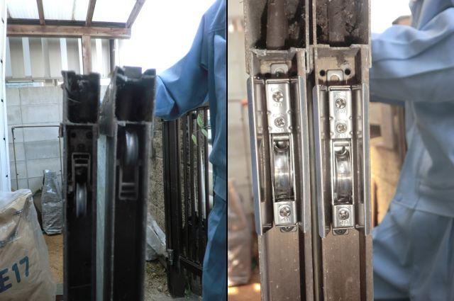 尾張旭市 玄関引戸の戸車修理、交換