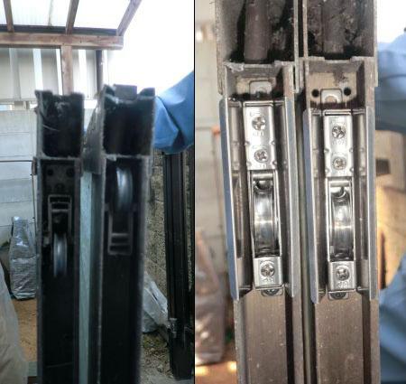 尾張旭市 玄関引戸の戸車修理