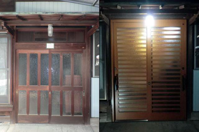 一宮市 木製玄関引戸取替え工事