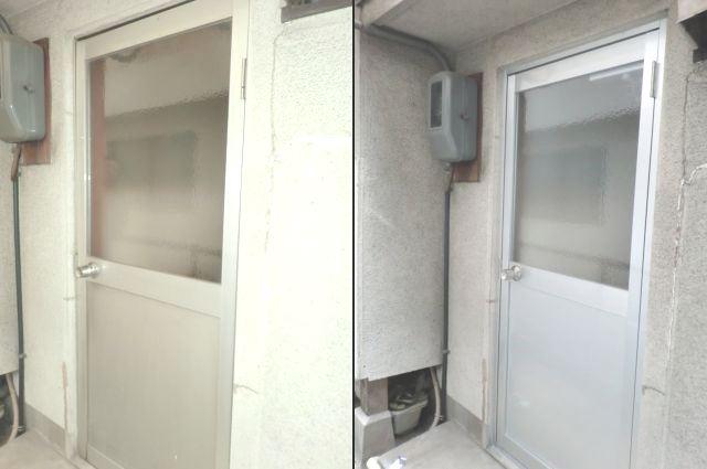 住宅勝手口 ドア取替 アルミ框ドア 名古屋市
