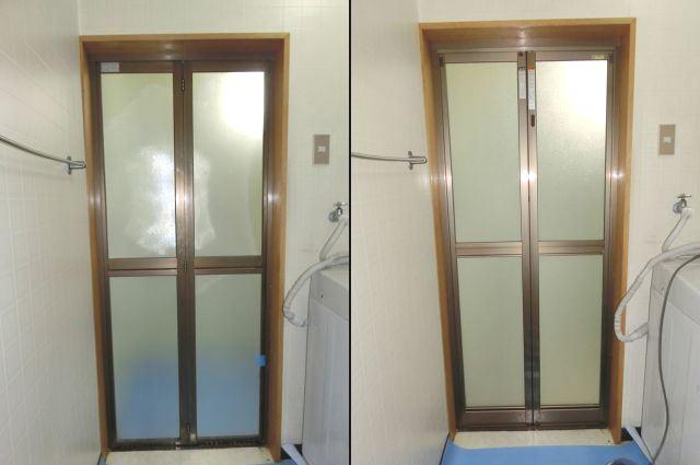浴室中折れドア取替 名古屋市中村区
