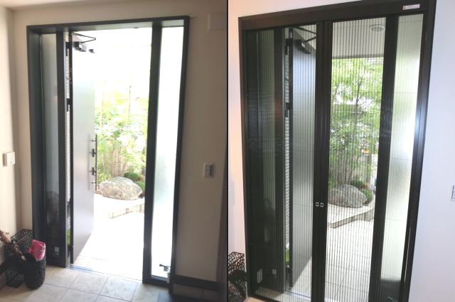 玄関ドア 網戸取付 リクシルしまえるんですα 名古屋市緑区