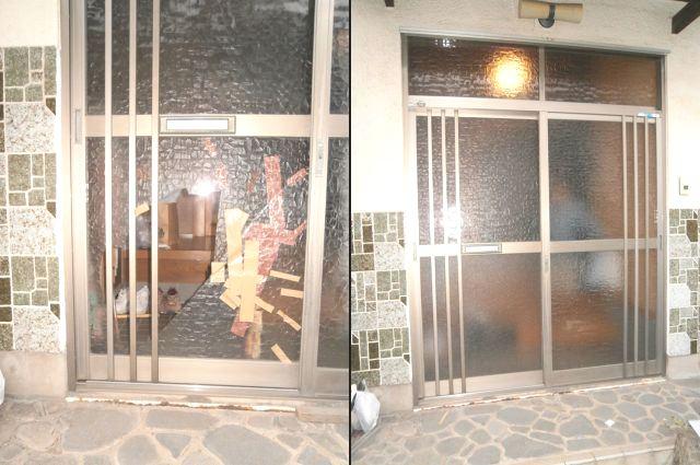 玄関引戸の硝子修理 交換 名古屋市港区