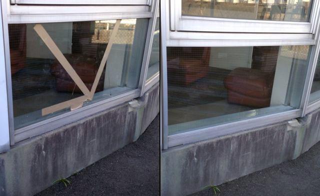 名古屋市南区 網入りガラス修理、交換