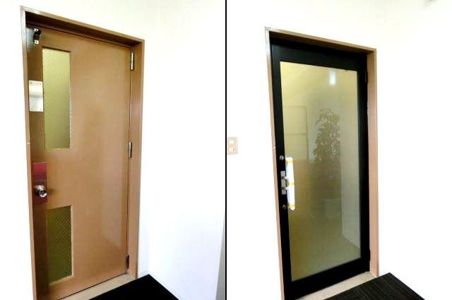 スチール扉からガラス扉への取替 アルミ框ドア 名古屋市