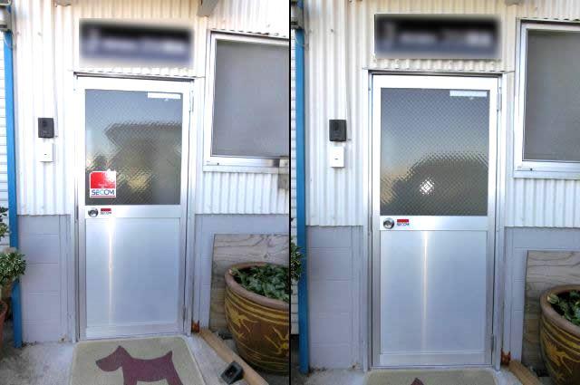 ガラス修理 交換 網入り型ガラス 名古屋市中川区