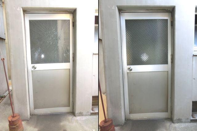 事務所入口ドア ガラス修理 網入り型ガラス 名古屋市中川区