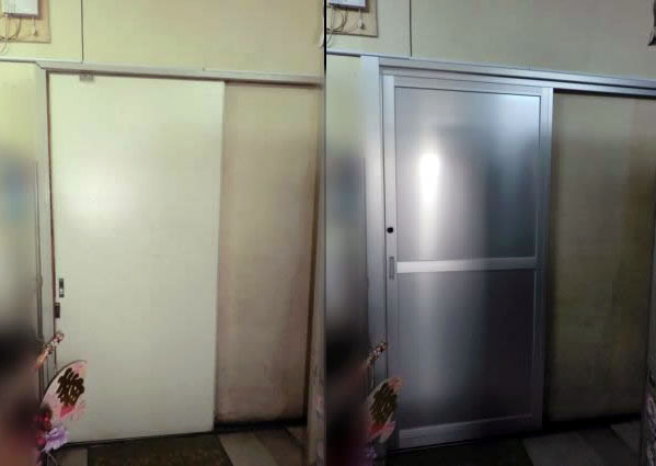 豊明市 木製引戸からアルミ片引戸への取替