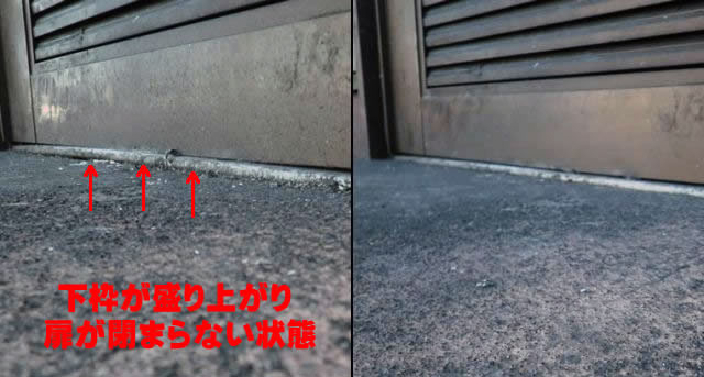 小牧市 店舗のアルミ片開きドアの開閉不具合の調整