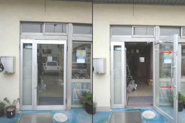 店舗サッシ改装 店舗アルミ框ドア 名古屋市